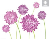 Art Print, Flower, Dahlia, Garden, Bloom, Printable, Digital File, Instant Download, Botanical, Stems, Green, Plum, Purple, Lilac, 8x10