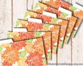 Recipe Cards, Dividers, Tabs, Flower, Dahlia, Garden, Bloom, Pattern, Printed, Orange, Tangerine, Green, Cooking, Food, Kitchen, Set of 6