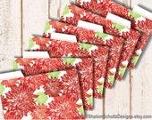 Recipe Cards, Dividers, Tabs, Flower, Dahlia, Garden, Bloom, Pattern, Printed, Red, Crimson, Dark, Green, Cooking, Food, Kitchen, Set of 6