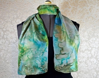 Hand painted silk scarf, rectangular, in green and blue