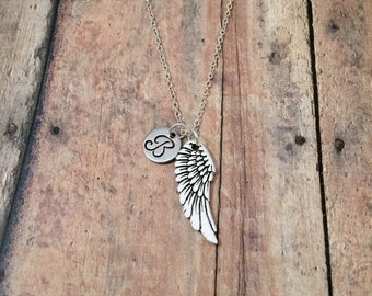 Angel wing initial necklace - angel wing jewelry, wing necklace, silver angel wing pendant, memorial necklace, angel wing charm