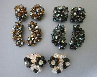 DeStash 5 Pairs aurora crystal bead Clip Earrings