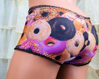 Go Nuts for Donuts! Lace Boy Booty Shorts Choose Size - MTCoffinz