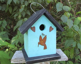 Turquoise Rusty Hummingbird and Rusty Hearts Birdhouse