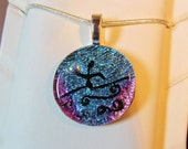 Water Polo Necklace Pendant - Dichroic Fused Glass Necklace Pendant - Blue and Pink Round Dichroic  - Free Shipping