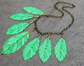Green statement necklace Leaf necklace Feather necklace Statement jewelry under 50