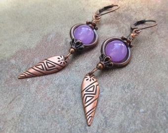 Purple earrings copper dangle earrings rustic boho jewelry