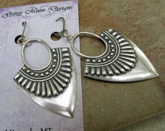 Silver Boho earrings ethnic earrings Hipster dangle earrings 2.5 inch earrings bohemian jewelry