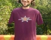 90s vintage t-shirt STUSSY star skate graphic tee shirt 90s Medium Small maroon