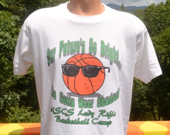 vintage 90s t-shirt lady RIFLE future bright shades uscs college basketball camp tee Large uscu wtf