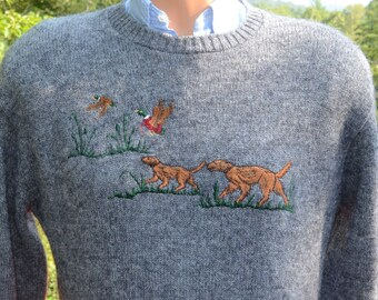 vintage 80s sweater duck HUNTING dogs gray applique preppy knit Medium Large 80s wtf