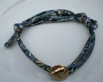 Handmade Genuine Liberty Print Fabric Bracelet with Pure Bronze Heart Button