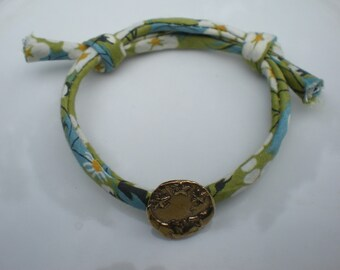 Handmade Genuine Liberty Print Fabric Adjustable Bracelet with Stars and Moon Pure Bronze Button