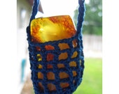 Crocheted Amulet SWING - Pendulum Vintage AMBER - Crocheted Cradled Baltic AMBER