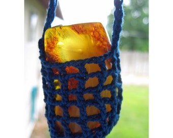 Crocheted Amulet SWING - Pendulum Vintage AMBER - Crocheted Cradled Baltic AMBER