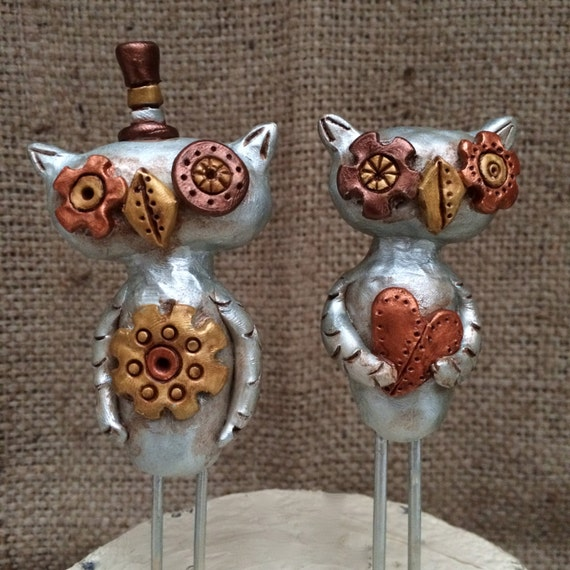 Silver and Gold Steampunk Owls cake topper  for your Wedding