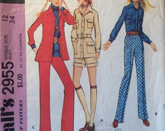 """1970s McCall's Women's Coordinated Separates Pattern #2955 Size 12 Bust 34"""" - NC - Vintage McCall's Pattern / 70s McCall's / 70s Pattern"""