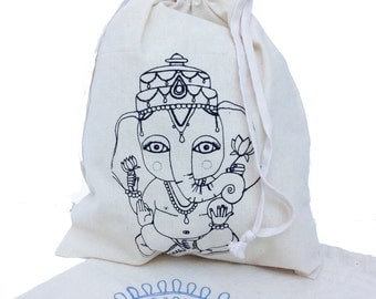 GANESHA Drawstring Bag Screenprint in unbleached cotton