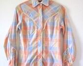 Vintage 60s 70s Pastel Plaid Western Snap Button Shirt (size small, medium)