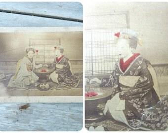 Vintage Antique Albumen photo print Young Japanese women Geishas eating /recolored
