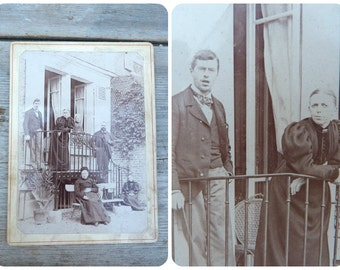 Vintage Antique 1890 French photographic image Family  behind a house photography