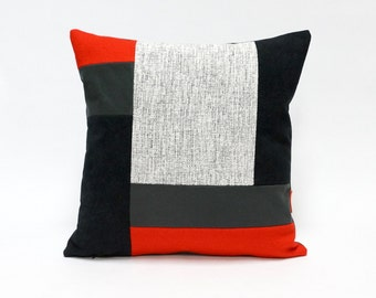 Color block Couch Pillow handmade from upholstery fabrics by EllaOsix
