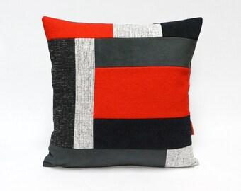 Color block throw pillow handmade from upholstery fabrics by EllaOsix