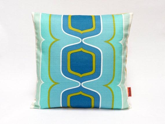 70s Mid Century Modern Retro decorative pillow cover in aqua