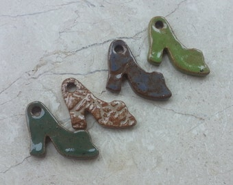SPECIAL PRICE - 75% OFF - Small Stoneware Glazed Pottery Pendant Set no.47- Also great as Miniature Ornaments - Set of 4 - High Heel Shoes