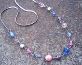 Eco-Friendly Statement Necklace - Pastel Confection  - Recycled Vintage Silvertone Herringbone Chain and Pink, Purple and Blue Glass Beads