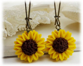 Yellow Sunflower Earrings - Sunflower Drop or Dangle Earrings
