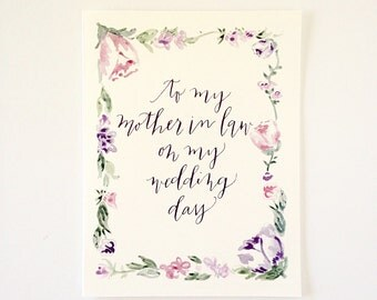 Floral To my mother-in-law on my wedding day ~ Greeting Card