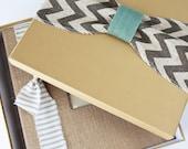 Keepsake Box, Chevron Burlap - Baby Memory Book Addition