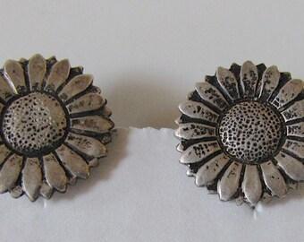 Sterling Silver Sunflower Earrings, Vintage Sunflower Earrings, Vintage Sterling Silver Earrings, Mexico Sterling Silver, Vintage Jewelry
