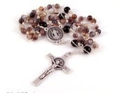 St Benedict Rosary Beads For Men in Botswana Agate and Black Onyx by Unbreakable Rosaries