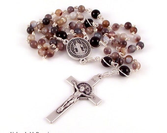 St Benedict Unbreakable Rosary Beads Botswana Agate Black Onyx Italian Medals by Unbreakable Rosaries