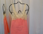 Vintage 1960s 60s Full Slip Neon Pink Sixties Pink Sixties Bali Lingerie Ivory Lace Taffeta Slip 60s Fashion Lace Bodice Above Knee Size XS