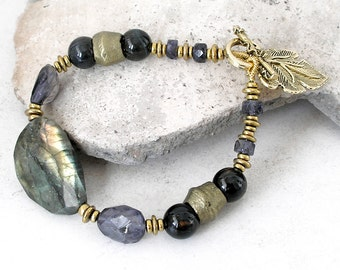 Ethnic Boho Gemstone Bracelet Labradorite Iolite Healing Stones Antique Kurdi Brass