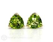Peridot Earrings 14K Gold Trillion Peridot Stud Earrings Post Earrings August Birthstone Green Gemstone Earrings