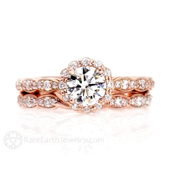 Moissanite Engagement Ring Wedding Set Wedding Band Diamond Halo Conflict  Free 14K Rose Gold