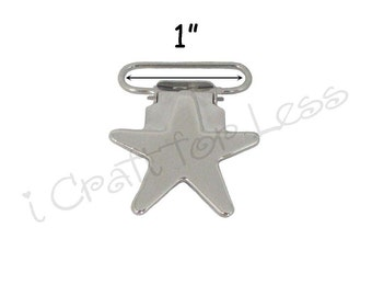"100 Star Suspender Hardware Clips - 1"" w/ Rectangle Inserts - for Pacifier Holder, Suspenders, Mitten Clip, Bib Clips - SEE COUPON"