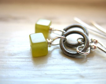 Serpentine Earrings, Lime Green Serpentine Stone Earrings, handmade metalwork stone earrings