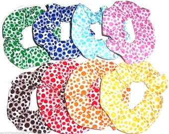 Polka Dots on Blocks Hair Scrunchies by Sherry Scrunchie Red Pink Blue Aqua Brown Orange Yellow Green Ponytail Holders Ties