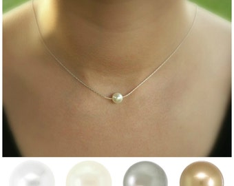 Dainty pearl necklace, bridesmaid gift set, necklace set, floating pearl necklace, single pearl, bridesmaid necklace, custom pearl color
