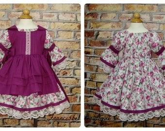 Vintage Style Girl Dress, Pinafore Dress, Girl Fall Dress, Winter Dress, Girl Floral Dress, Retro Dress, Lace Dress,Flower Girl Dress