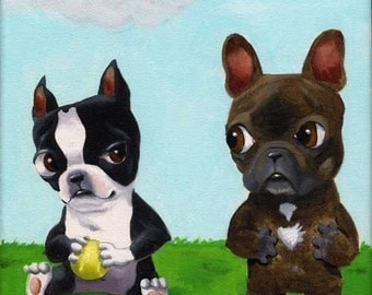 Boston Terrier Hogging All the Toys From a French Bulldog magnet