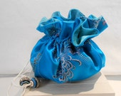 Jewelry Travel Pouch Bag - Chinese  Woven Jacquard Turquoise Blue Silk - Handmade in France