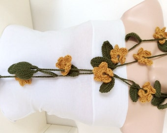 Autumn, Green Leaf and Saffron Yellow Flower Necklace, scarf, lariat