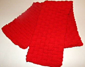 Red Hand Knit Basket Weave Scarf