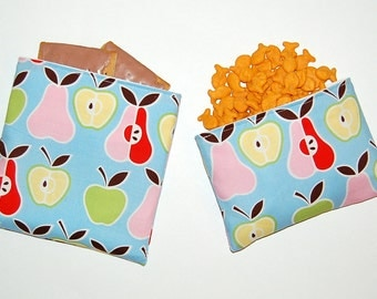 Apples and Pears - Eco Friendly Reusable Sandwich and Snack Bag Set